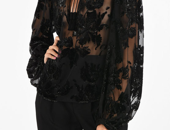 SAINT LAURENT EMBROIDERED BLOUSE WITH TASSELS