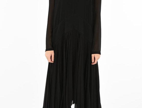 GIVENCHY SILK FRILLED LONG DRESS