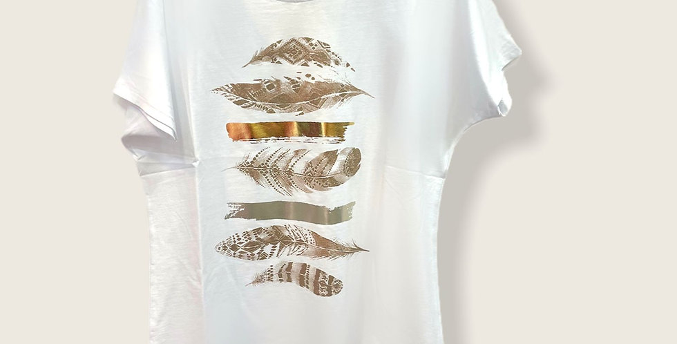 Chlo Roma Over Size White & Gold T shirt 2