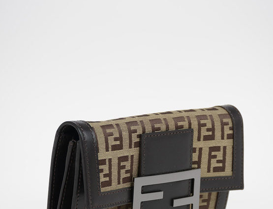 FENDI FABRIC LOGO WALLET WITH LEATHER DETAILS