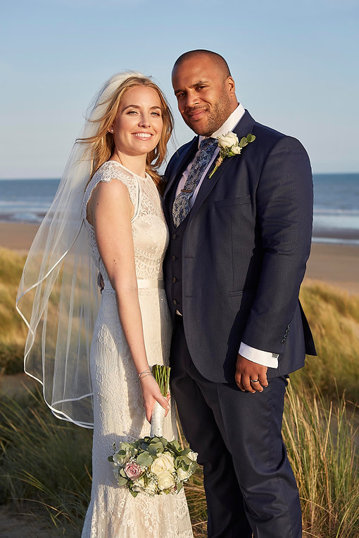 Sarah&Eddie - Bride & Groom on beach