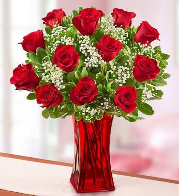 Blooming Love™ Premium Red Roses in Red Vase