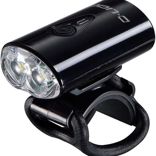 D-LIGHT 2 LED USB Rechargeable Bike Bicycle Safety Front Headlight Black
