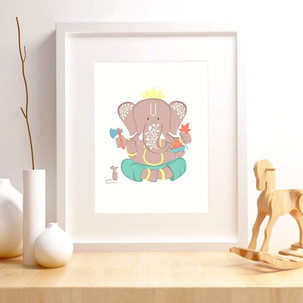 A mouse & tusks in my baby nursery.