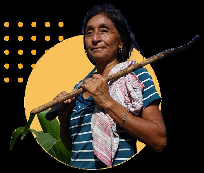 mujer de comunidad sureste con coa y plantas