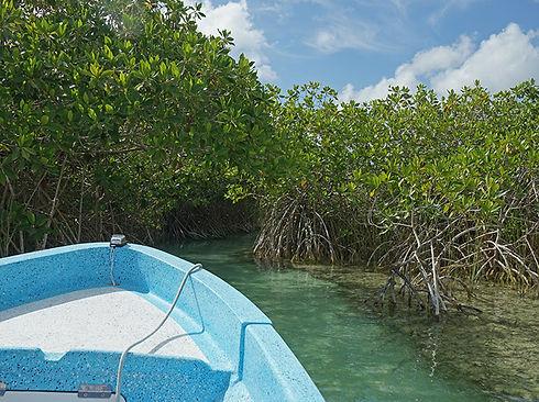 paisaje costero golfo embarcación en Muyil Reserva de la Biosfera de Sian Kaan