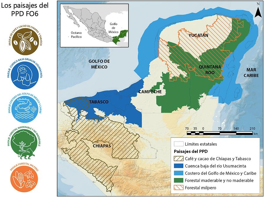 mapa de los paisajes del ppd méxico chiapas tabasco campeche quintana roo y yucatán