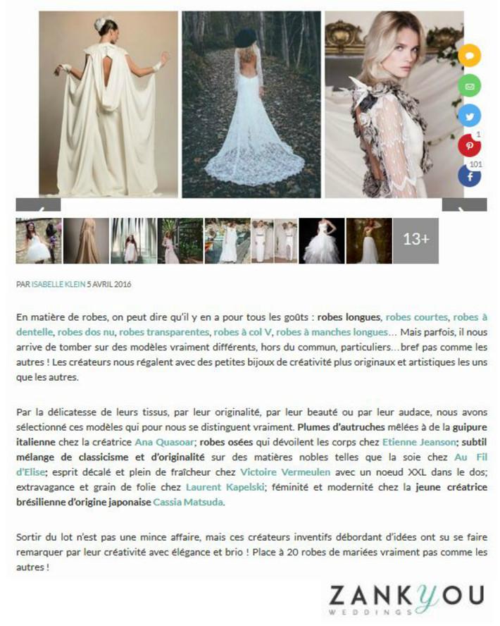 Les 20 robes de mariées pas comme les autres pour 2016, par Zankyou