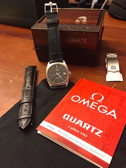 Rare Omega Seamaster Caliber 1432, Black Linen Dial, Full Box Set
