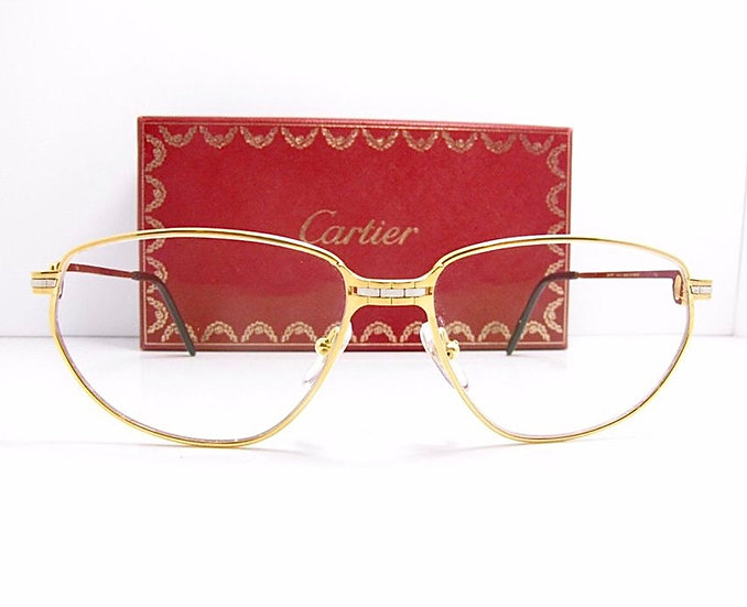 1980s Cartier Glasses in Gold and Silver, Never Worn, Full Box Set