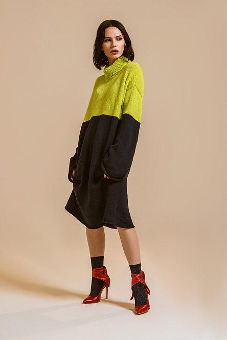 Vestito lungo bicolore