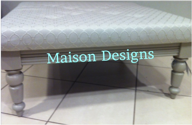 Maison Designs Gray Tufted Ottoman