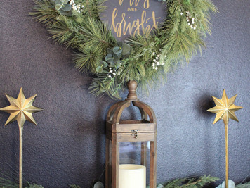"A""Merry & Bright"" Christmas Home tour and A DIY Fireplace Mantel update"