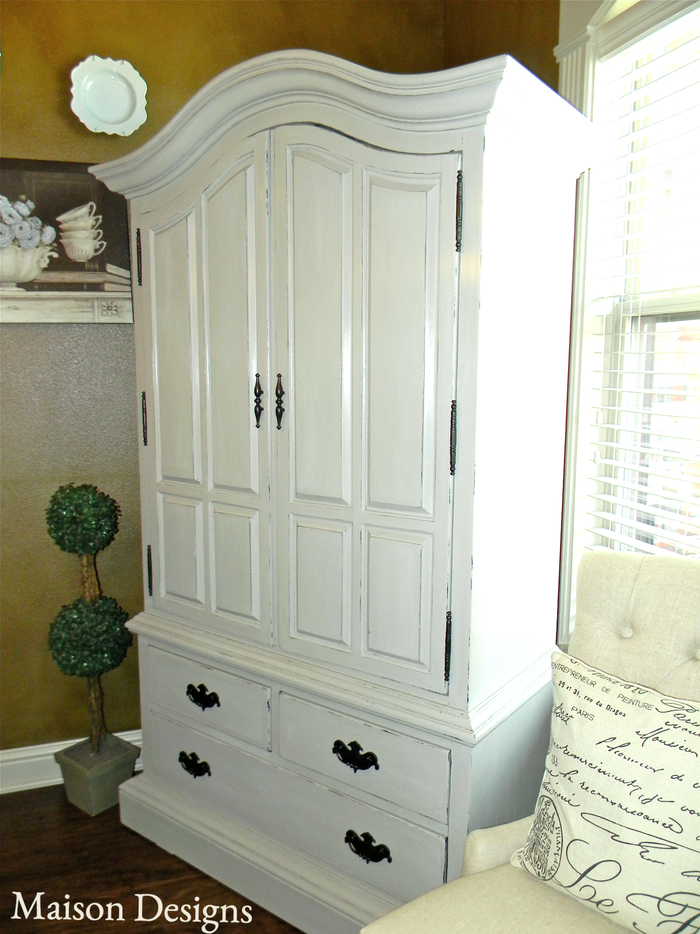 French Grey Armoire