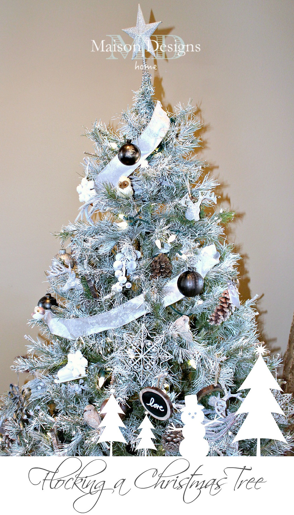 Flocking a Christmas Tree-Maison Designs Home