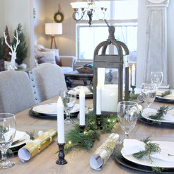A Christmas Home Tour & A look at our New Dining Table Build decked out for the holidays