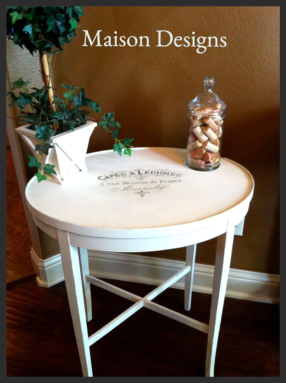 French Graphic Side Table-Maison Designs Home
