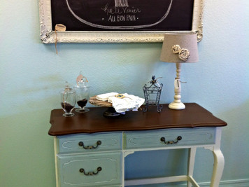 """""""A Paint Love Affair"""" transformation series....the before & after of the Cadberry Desk"""