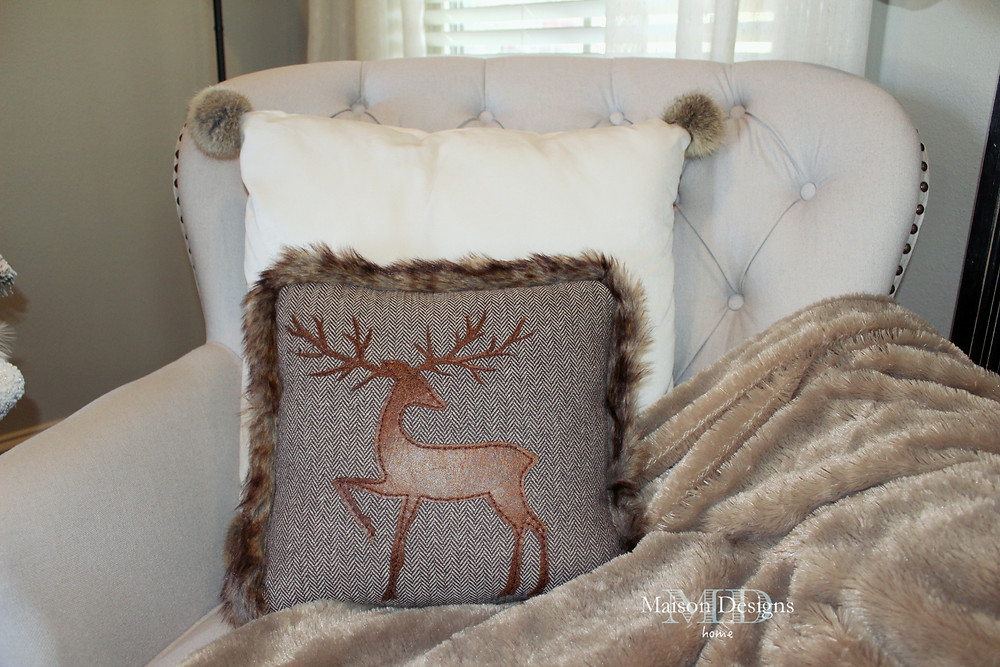 Narnia~Inspired Christmas Reindeer pillow and Fur Blanket