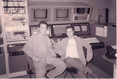 a black and white photo of STL-Style founders and twin brothers Jeff and Randy Vines
