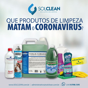Produtos saneantes que combatem o Coronavírus