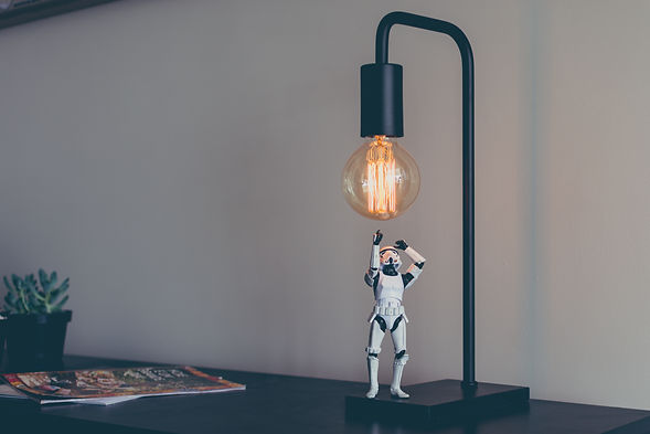 Stormtrooper with lamp in studio