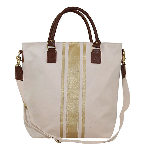 Canvas Travel Bag with Gold Stripe