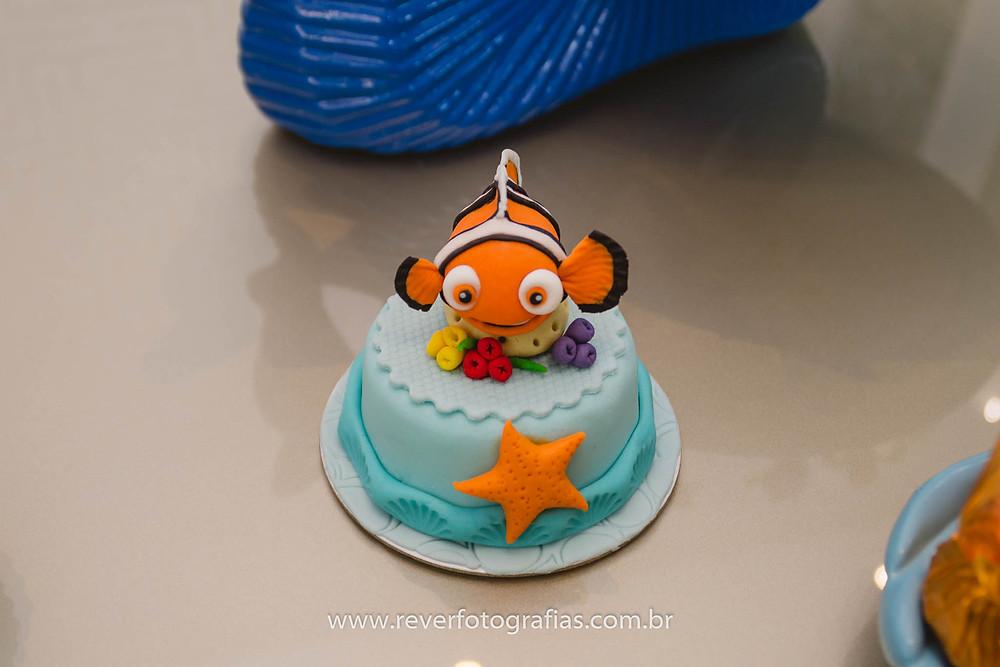 fotografia de cupcake com tema procurando nemo