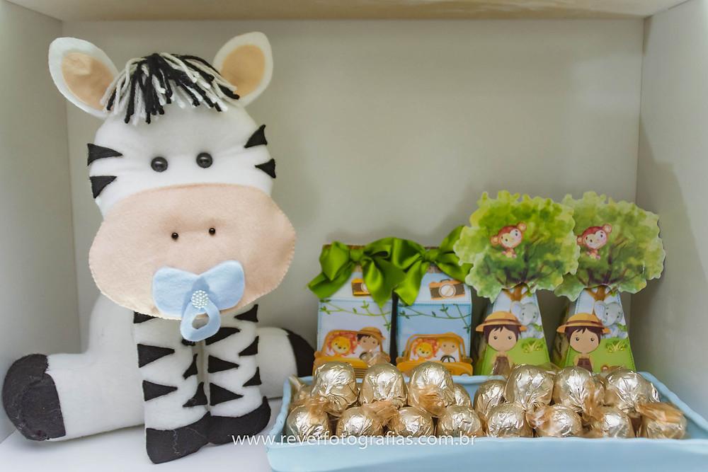 fotografia de zebra de feltro decoração de festa infantil