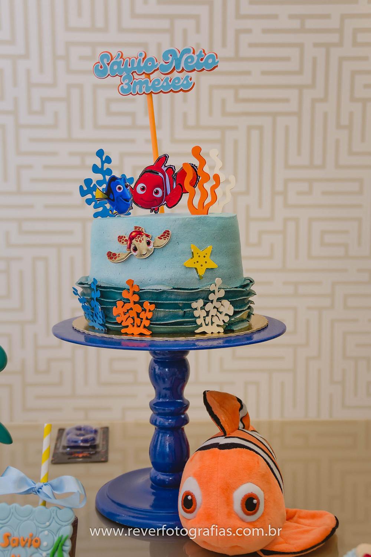 fotografia de bolo com tema procurando nemo