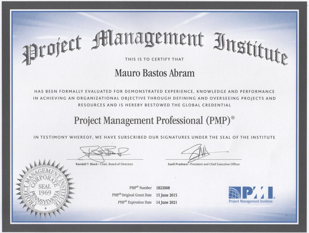 Certificado PMI - Mauro Abram