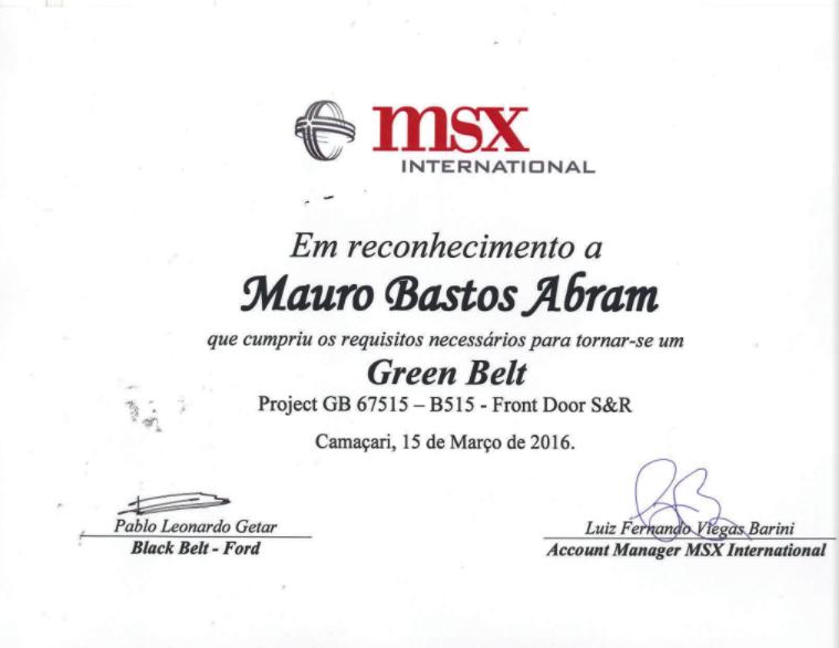 Certificado Green Belt - Mauro Abram