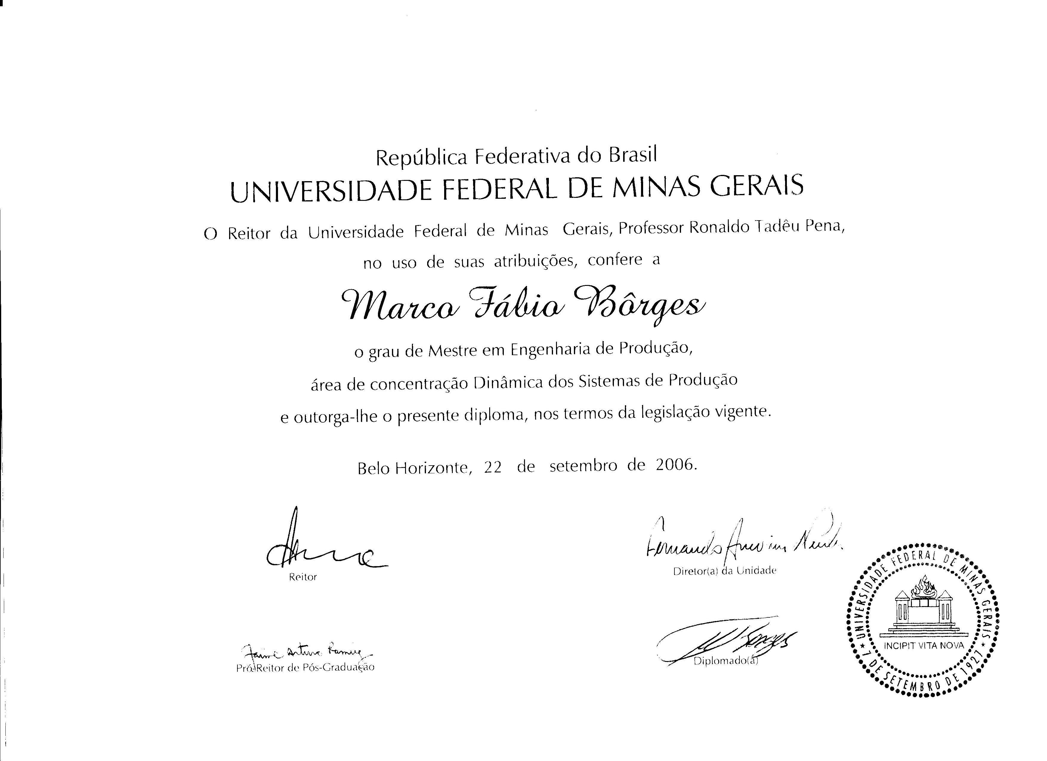 Diploma Marco frente