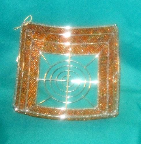 Kenyan  Silver metal and Orange Beaded Basket