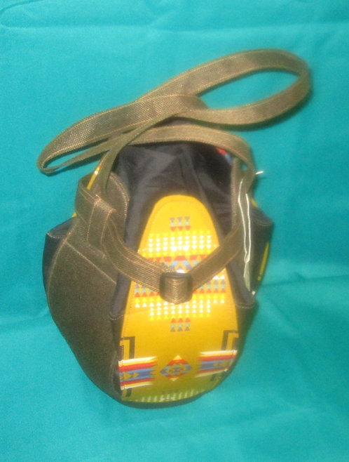 Leather and Fabric 6 Sided African Purse