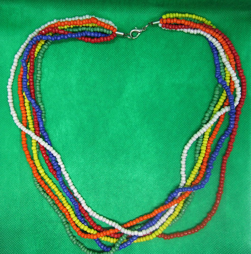 Multi-colored multi strand: red, white, blue, yellow, green, orange necklace