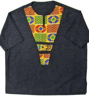 #01 black short sleve with african print