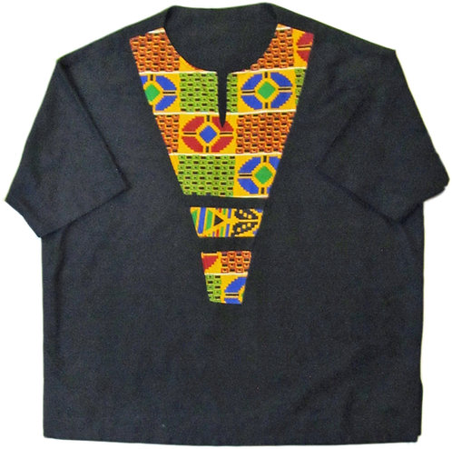 #01 Black short sleve with african print design