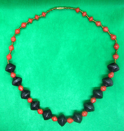 Orange & Black paper bead and glass bead Necklace