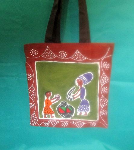 Shoulder Handbags (Large) Hand painted, Canvas shoulder straps