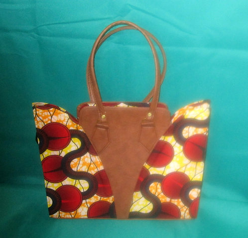 Ghanaian Purse - Red, yellow, black with leather inserts