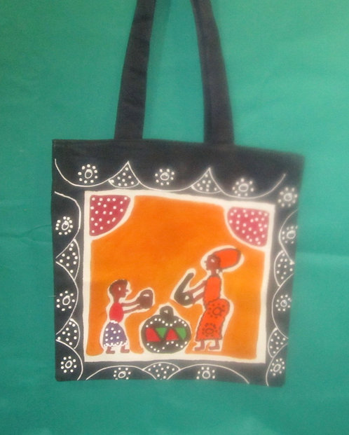 Shoulder Handbags (Large) Hand painted, Canvas shoulder straps