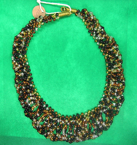 Brown, black & amber glass bead looped Necklace