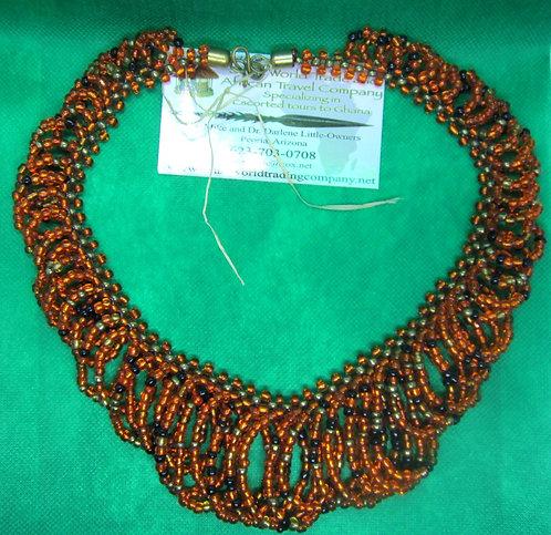 Orange & black glass bead looped Necklace