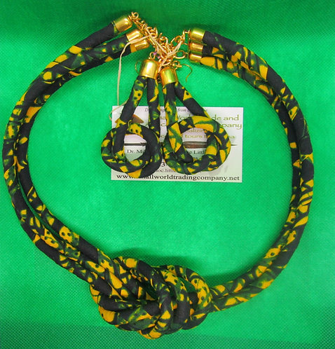 Cord and cloth dark blue, green & yellow Necklace and Earring Set