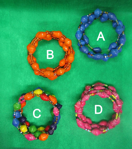 Multi-color Paper bead adjustable bracelets