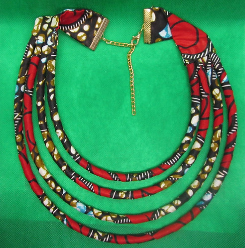 Red & brown cord & fabric Necklace