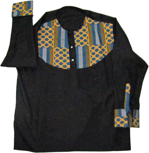 #16 Black long sleve shirt with blue and gold patterned accents