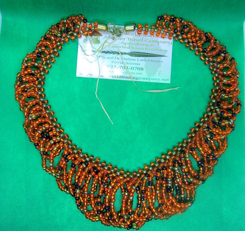 Orange & black glass bead looped Necklace