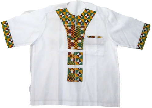 2X Crisp white shirt with traditional African patterned print